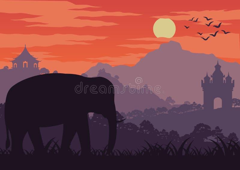 Il simbolo dell'elefante della Tailandia ed il Laos camminano in punto di riferimento vicino di legno royalty illustrazione gratis