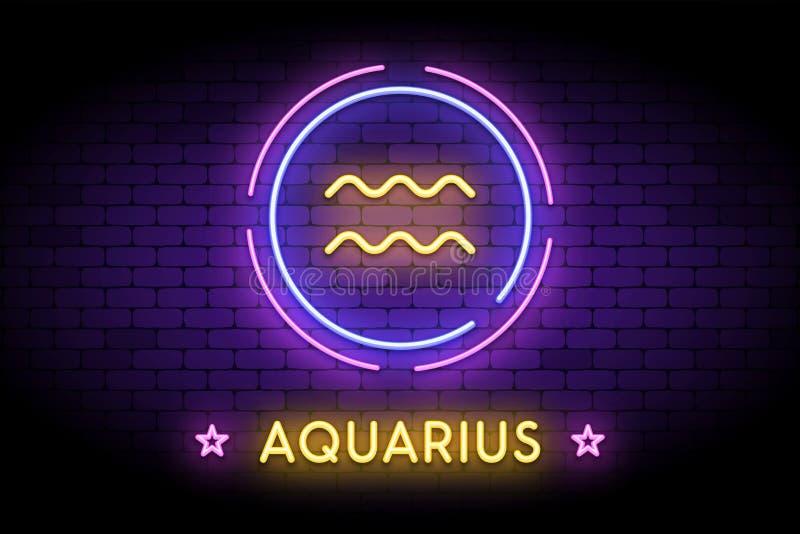 Il simbolo dello zodiaco di acquario nello stile al neon fotografia stock