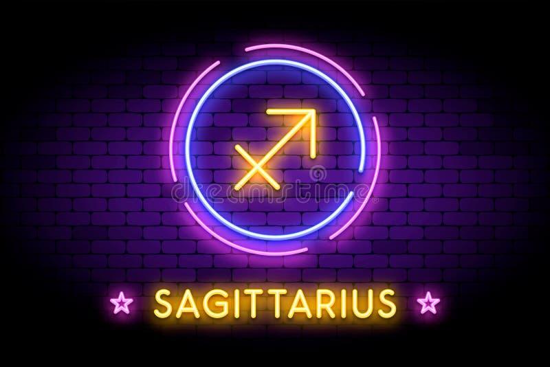 Il simbolo dello zodiaco di Sagittario nello stile al neon immagini stock