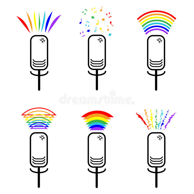 Il simbolo di appartenenza alle minoranze sessuali Insieme dei microfoni delle icone con i suoni dell'arcobaleno Lesbiche e gay S royalty illustrazione gratis