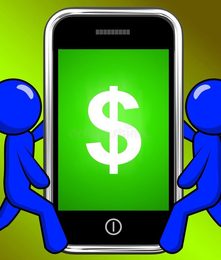 Il simbolo di dollaro sul telefono visualizza la valuta di $ royalty illustrazione gratis