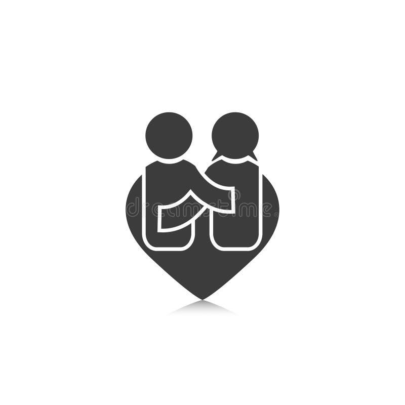 Il simbolo di felicità della gente negli uomini del cuore di forma e le donne amano illustrazione vettoriale
