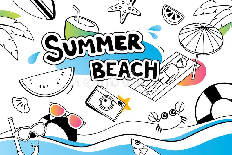Il simbolo di scarabocchio dell'estate e la progettazione dell'icona degli oggetti per la spiaggia fanno festa il BAC royalty illustrazione gratis