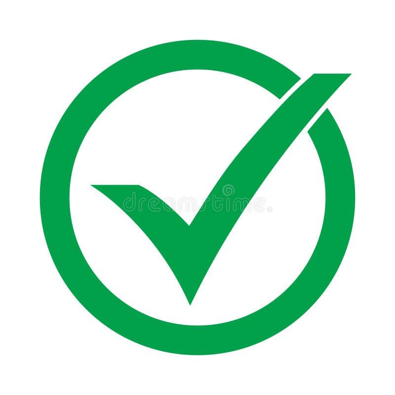 Il simbolo di vettore dell'icona del segno di spunta, segno convenzionale isolato su fondo bianco, ha controllato l'icona o segno illustrazione di stock