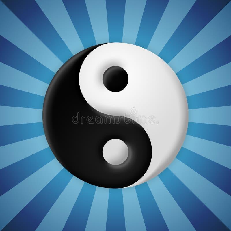 Il simbolo di yin yang sul blu rays il fondo illustrazione di stock