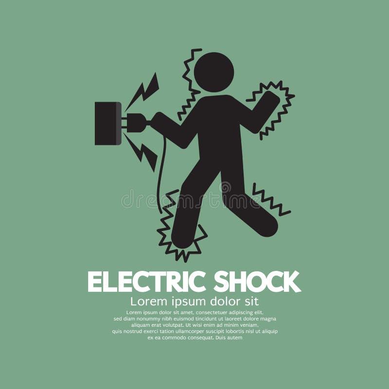 Il simbolo grafico di un uomo ottiene una scossa elettrica illustrazione vettoriale