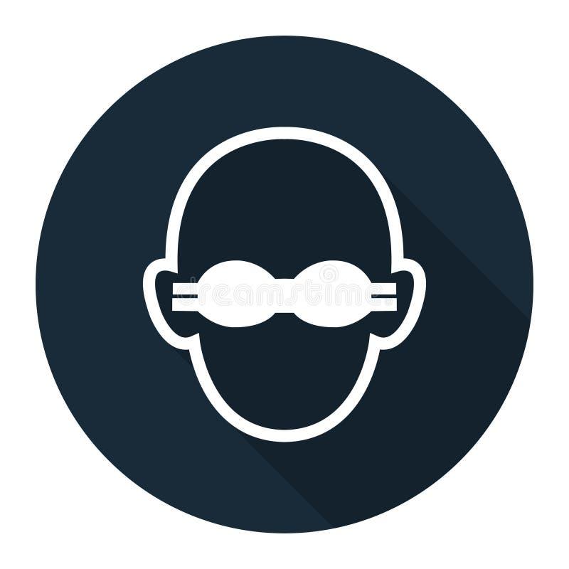 Il simbolo indossa il segno opaco di protezione degli occhi su fondo nero, llustration di vettore royalty illustrazione gratis