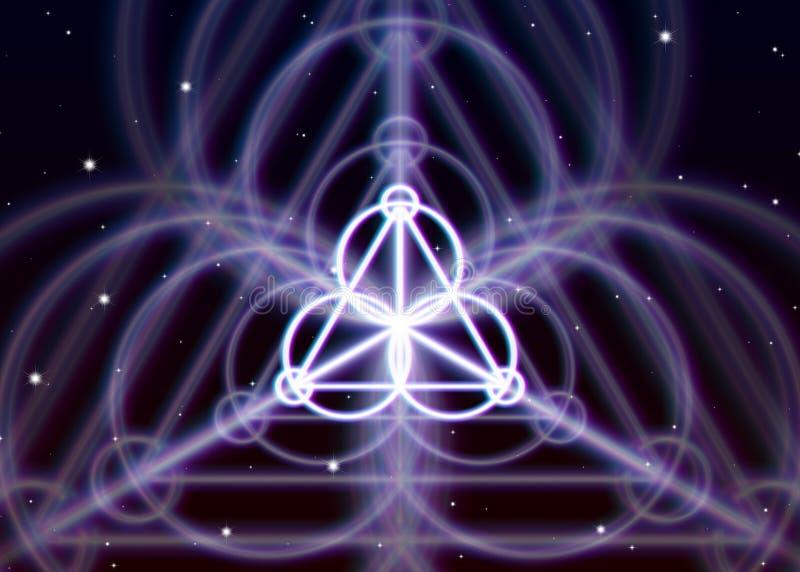 Il simbolo magico del triangolo sparge l'energia mistica brillante nello spazio spirituale illustrazione di stock