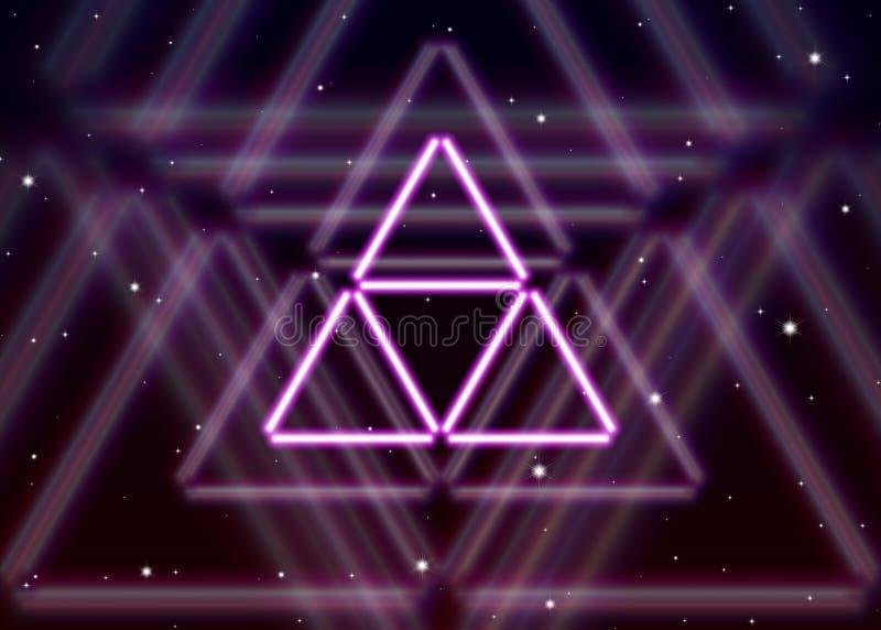 Il simbolo magico del triangolo sparge l'energia mistica brillante nello spazio spirituale illustrazione vettoriale