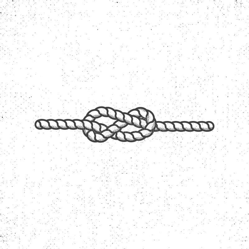 Il simbolo nautico del nodo della corda sull'annata irruvidisce lo stile Progettazione monocromatica di vettore Isolato su priori illustrazione vettoriale