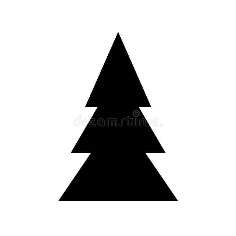 Il simbolo nero dell'abete per il Natale progetta, nuovo anno Icona piana della siluetta del campione, progettazione semplice Baz illustrazione di stock