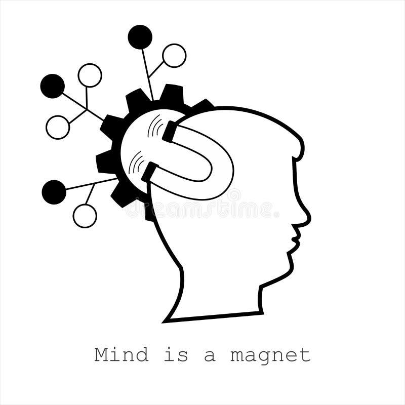 Il simbolo per la mente è un magnete Concetto per il web, il cellulare o i Apps illustrazione vettoriale