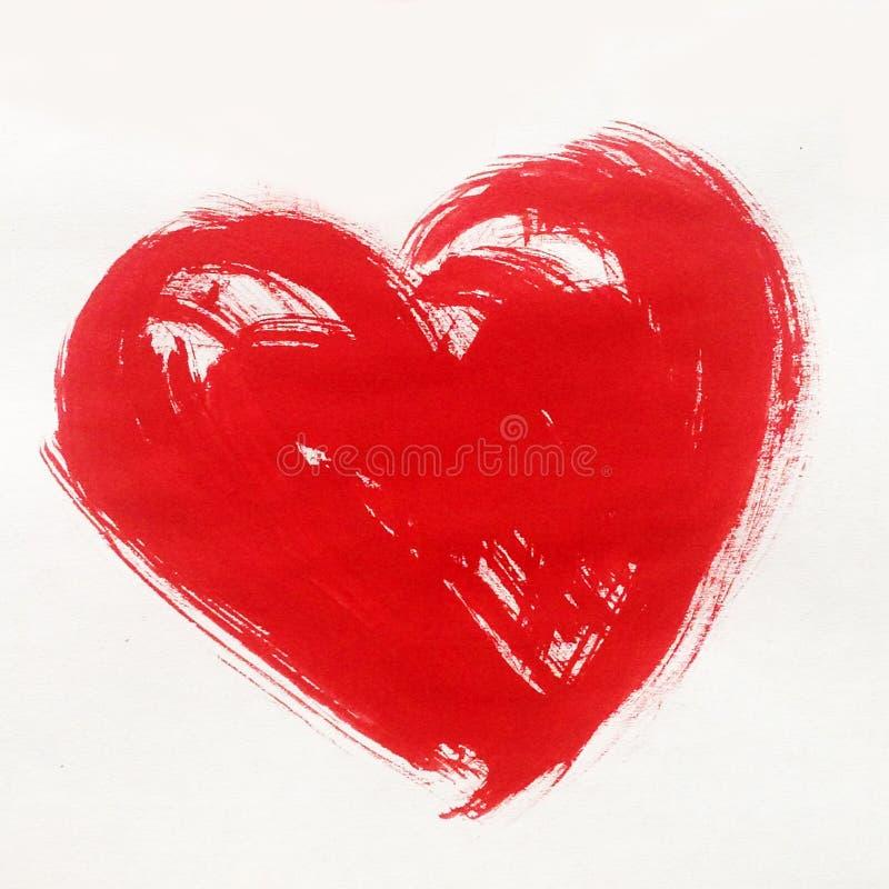 Il simbolo rosso del cuore del fondo astratto dell'acquerello di amore luminoso asciuga carta da parati della mano della decorazi fotografia stock