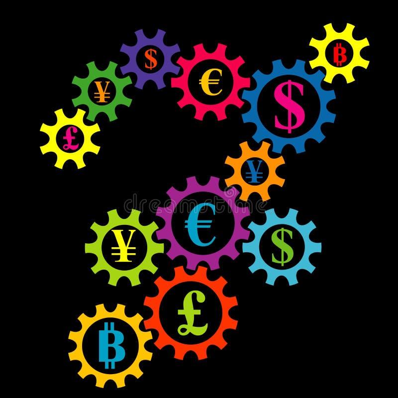 Il sistema d'ingranaggi astratto con la valuta conia il fondo variopinto royalty illustrazione gratis