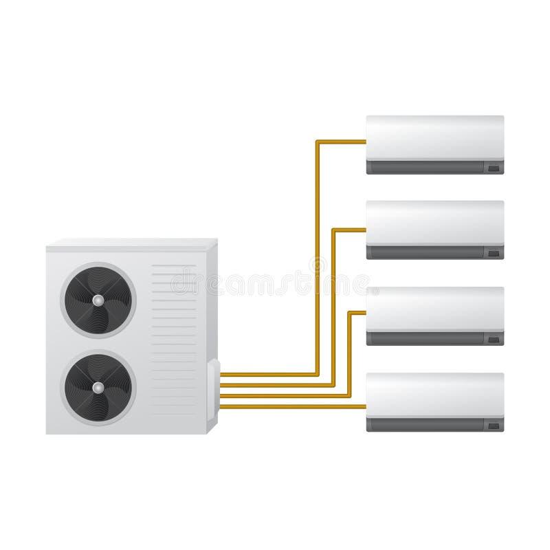 Il sistema di condizionamento d'aria Concetto di HVAC Operatore dell'aria illustrazione di stock