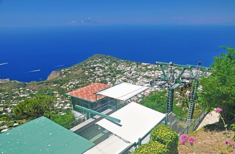 Il sito del funicolare sospeso sull'isola di Capri fotografie stock libere da diritti