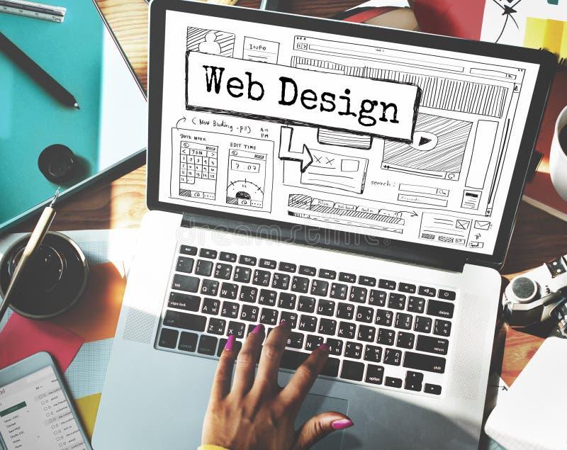 Il sito Web di progettazione crea il concetto della disposizione del modello immagine stock