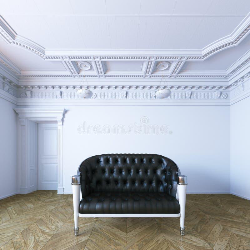 Il sofà di cuoio nero in appartamento classico 3d di stile rende royalty illustrazione gratis