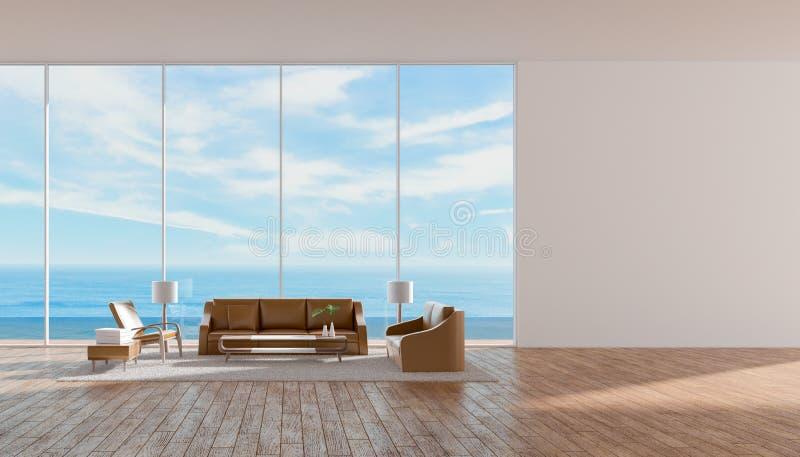 Il sofà di legno del pavimento del salone interno moderno ha messo la rappresentazione dell'estate 3d di vista del mare illustrazione di stock
