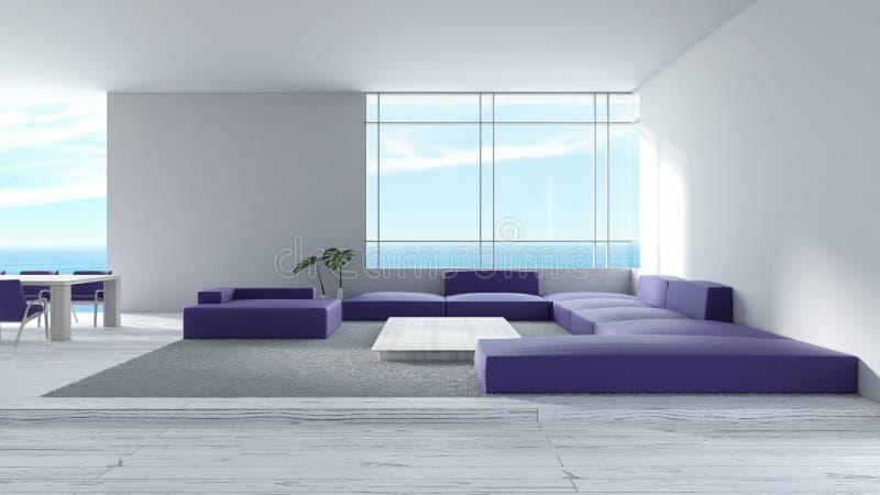 Il sofà di legno del pavimento del salone interno moderno ha messo la rappresentazione dell'estate 3d di vista del mare tre porpo royalty illustrazione gratis