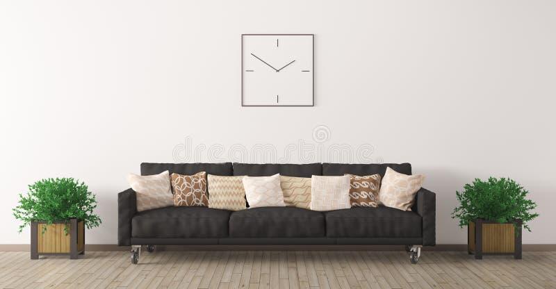 Il sofà nero contro della parete bianca 3d rende illustrazione di stock