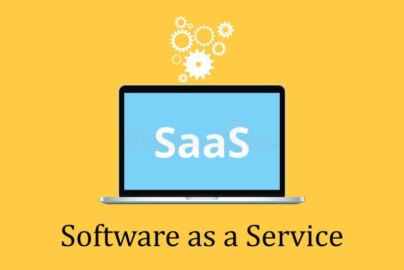 Il software di Saas come concetto di servizio con il computer portatile ed il manifesto mandano un sms all'icona dell'ingranaggio illustrazione di stock