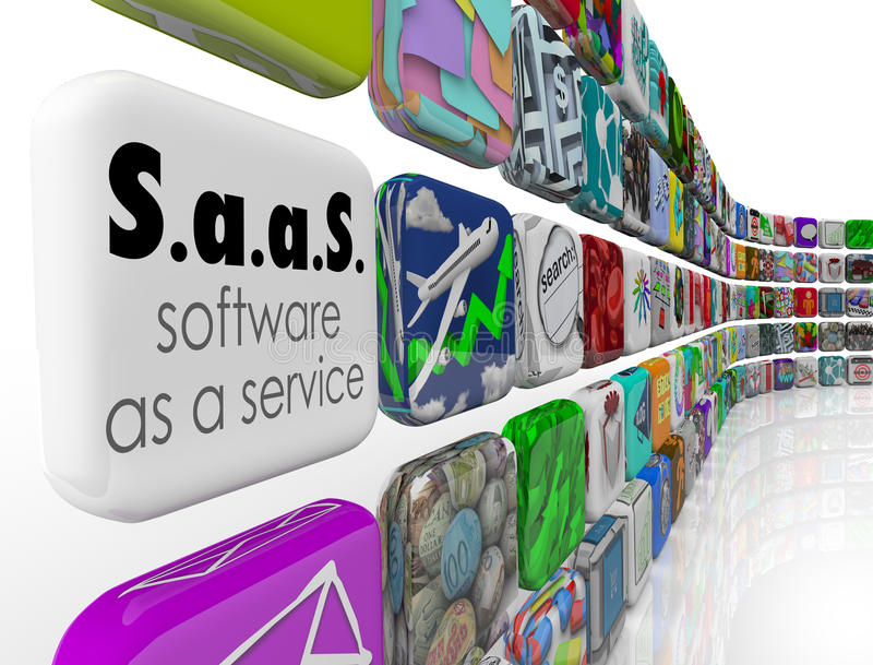 Il software di SaaS come programma di servizio App piastrella l'applicazione di licenza illustrazione vettoriale