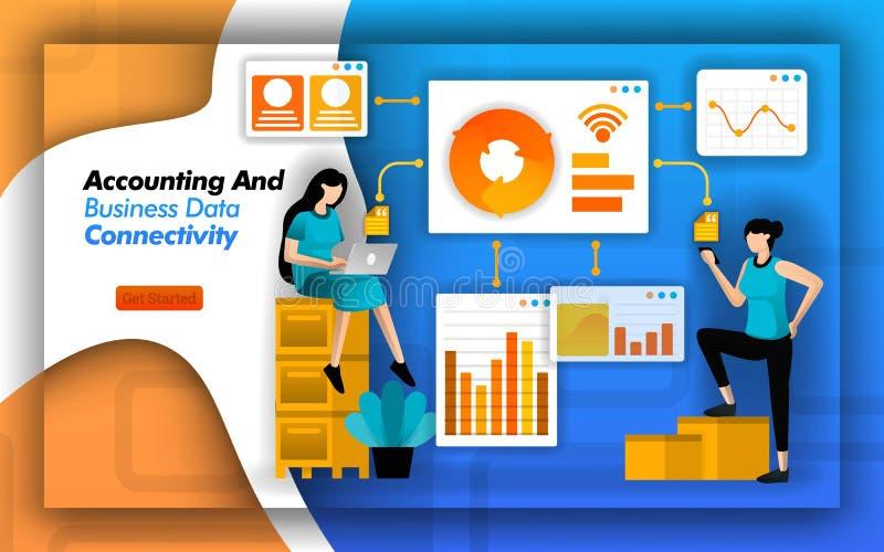 Il software finanziario gli rende la connettività di facile accesso di dati di gestione e di contabilità per minimizzare analisi  royalty illustrazione gratis