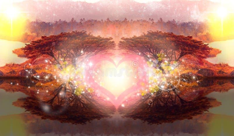 Il sogno immagina la fantasia romantica dell'albero di amore 2 del cuore, bokeh della bolla illustrazione di stock
