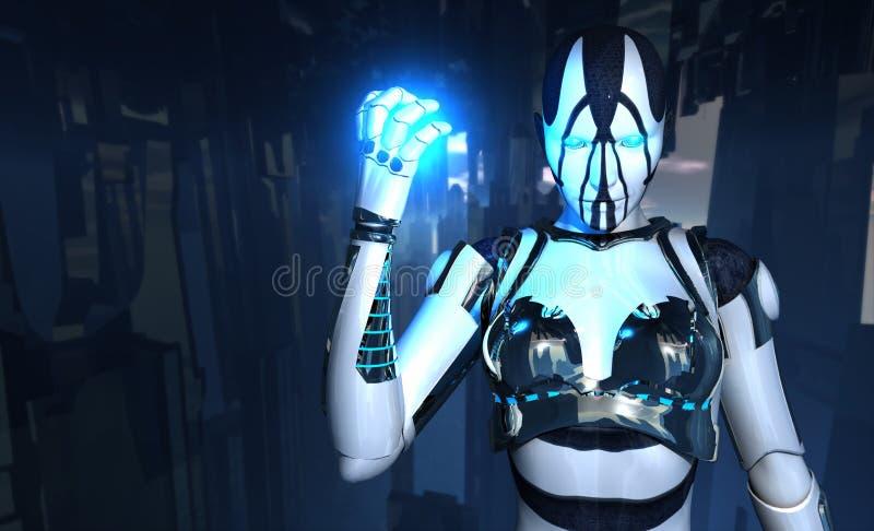 Il soldato del Cyborg tiene l'energia illustrazione di stock