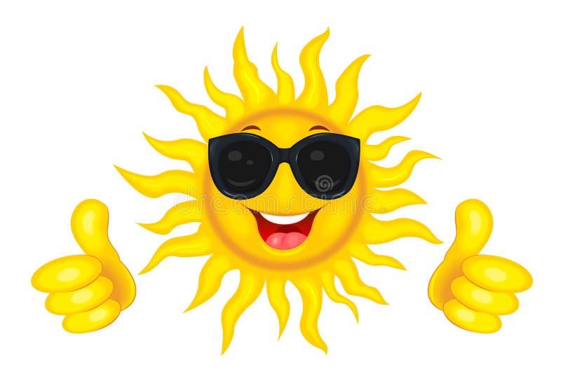 Il sole allegro in vetri illustrazione vettoriale