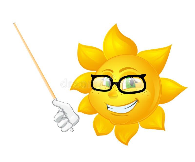 Il sole astuto sta insegnando a ha isolato su fondo bianco royalty illustrazione gratis