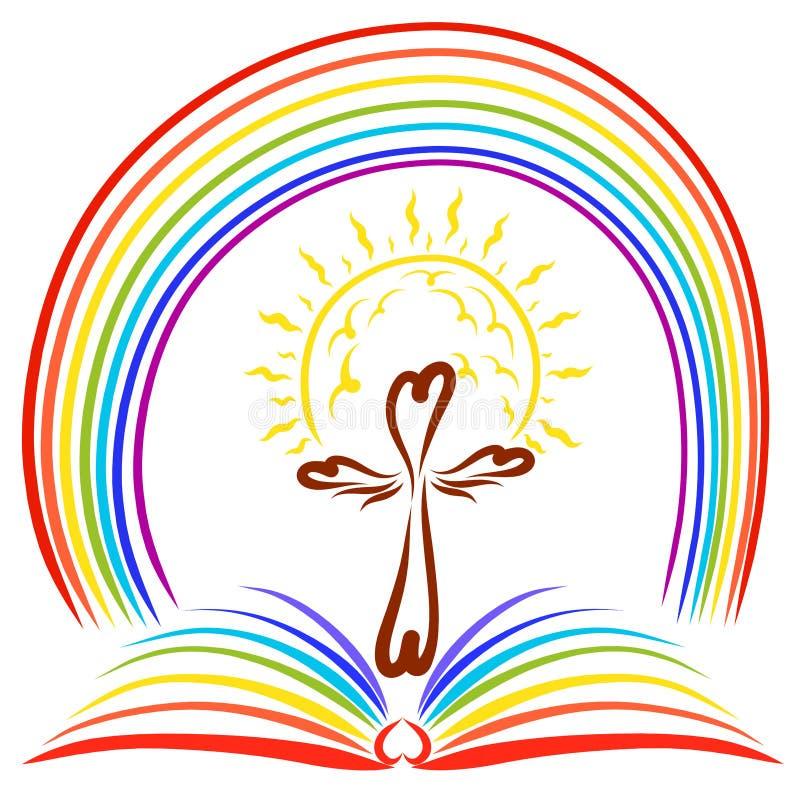 Il sole brillante sopra l'incrocio, il libro aperto e l'arcobaleno royalty illustrazione gratis
