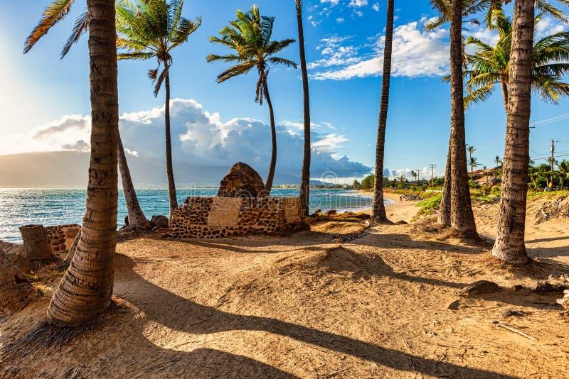 Il sole del tardo pomeriggio tramonta su Maui fotografie stock libere da diritti