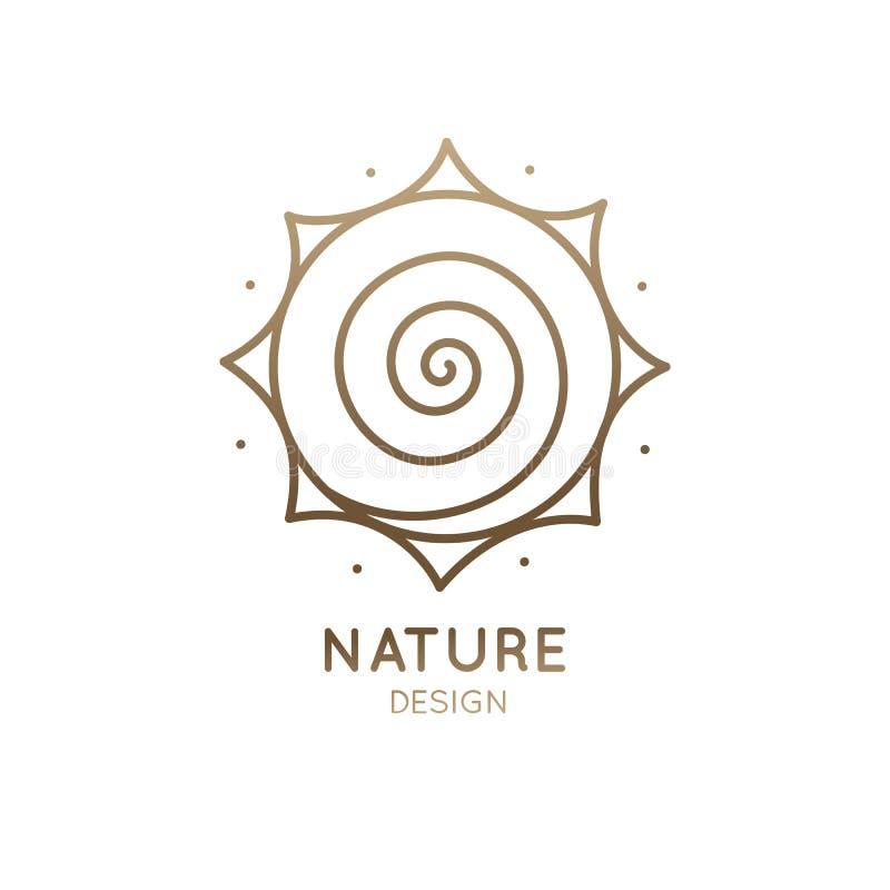 Il sole di logo è spirale illustrazione di stock