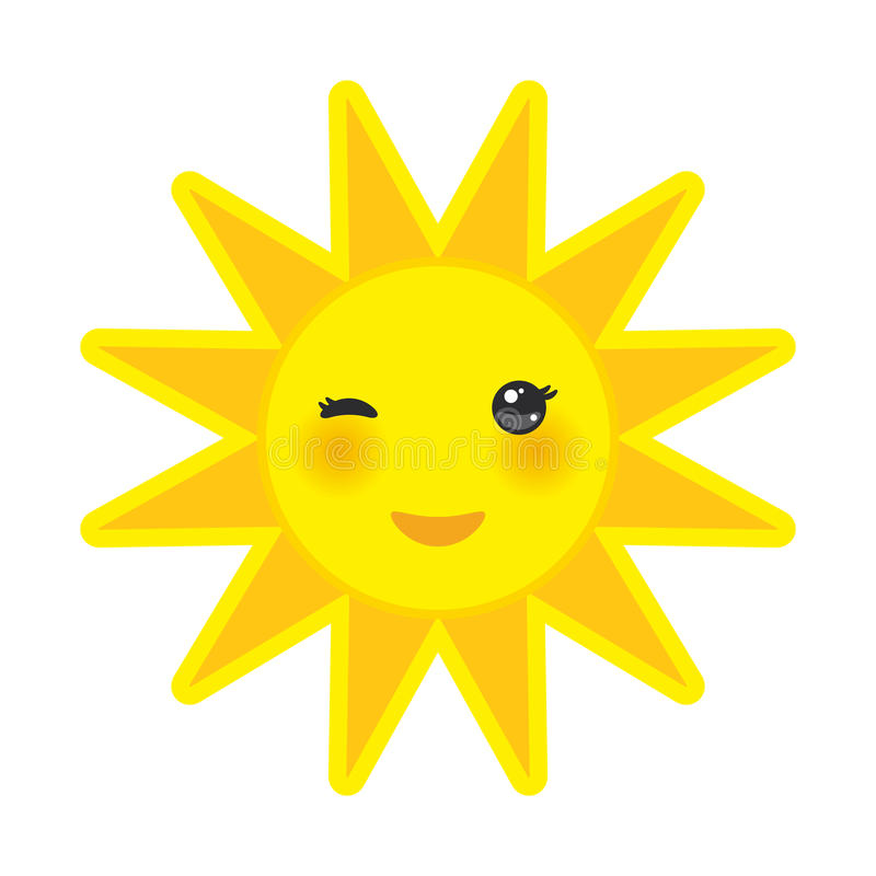 Il sole divertente di giallo del fumetto che sorride e che sbatte le palpebre osserva illustrazione vettoriale