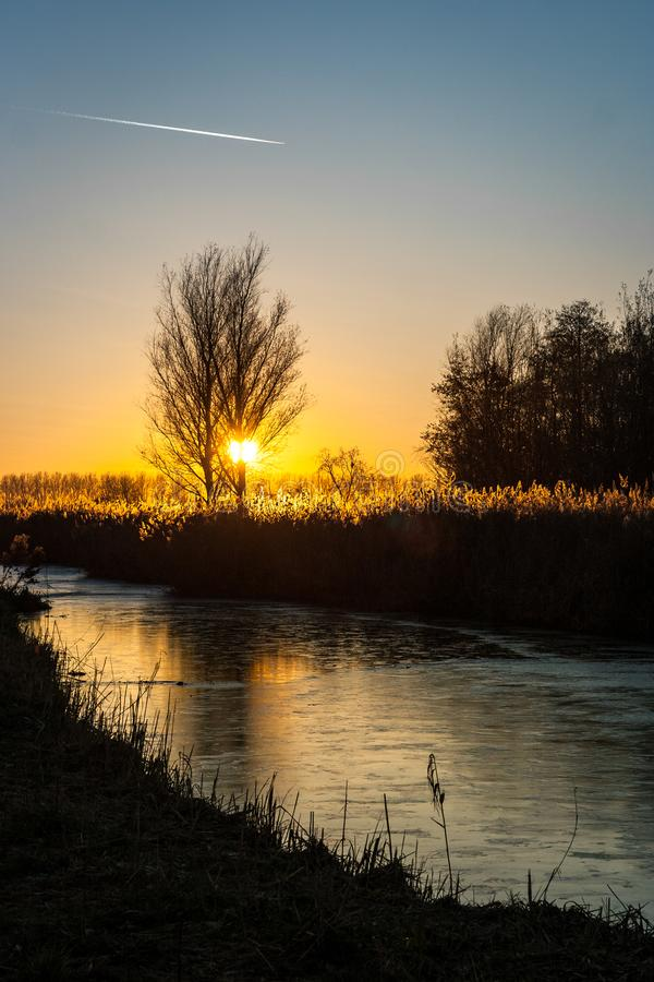 Il sole mette dietro un albero sopra la campagna olandese L'acqua nel canale è congelata e riflette i colori del cielo fotografia stock libera da diritti
