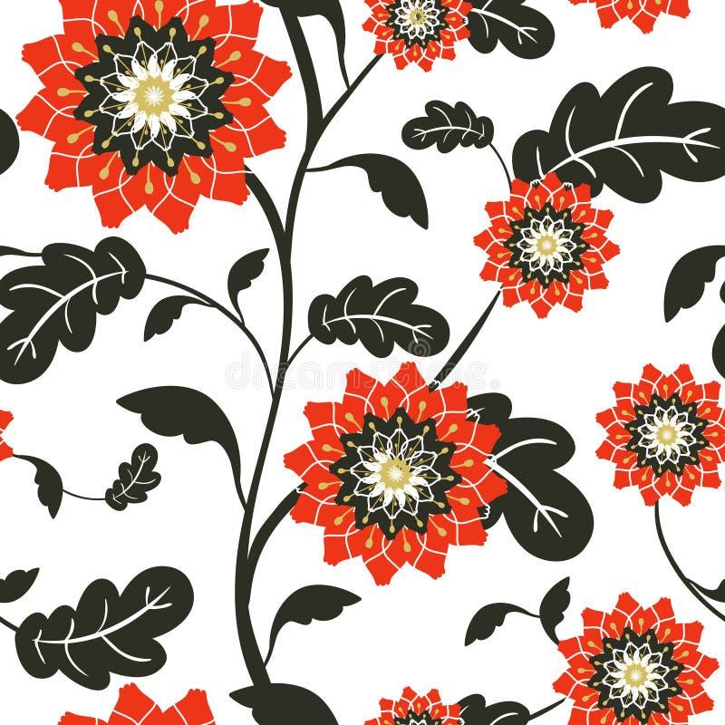 Il sole rosso moderno fiorisce il fondo senza cuciture royalty illustrazione gratis