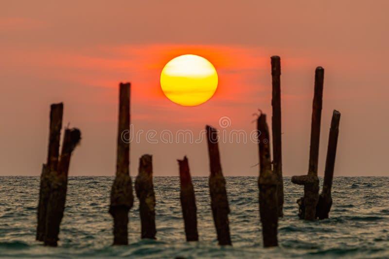 Il sole sta cadendo nel mare La luce ha riflesso dal mare e dal cielo arancio I ceppi di albero rotti è sfuocato Khao immagini stock libere da diritti