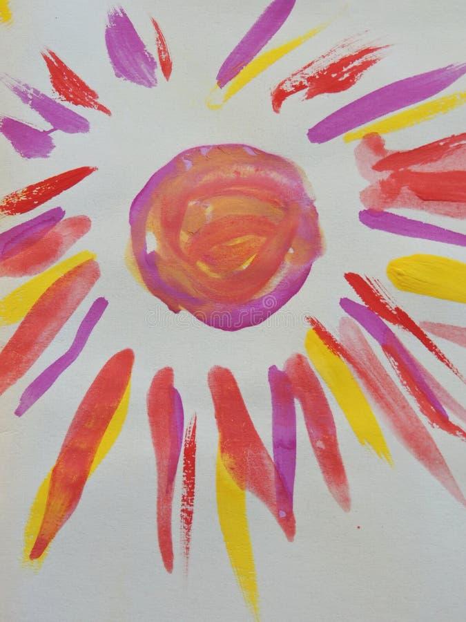 Il sole variopinto dipinto, può usare come fondo immagini stock libere da diritti