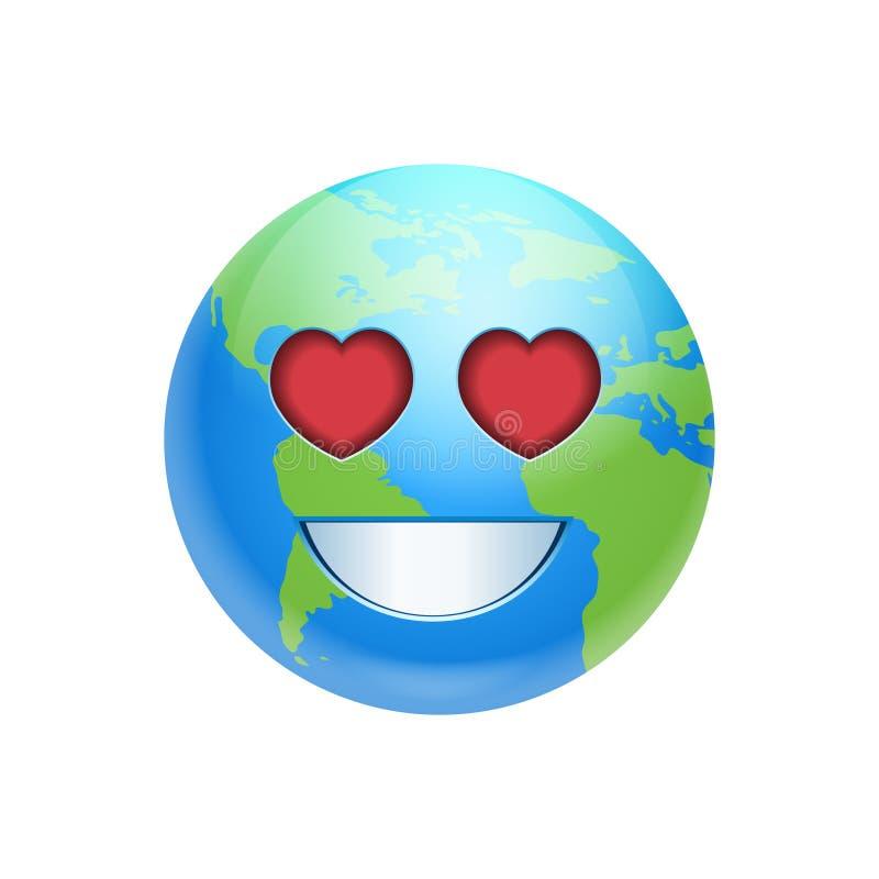 Il sorriso del fronte della terra del fumetto con forma del cuore osserva l'emozione divertente del pianeta dell'icona royalty illustrazione gratis