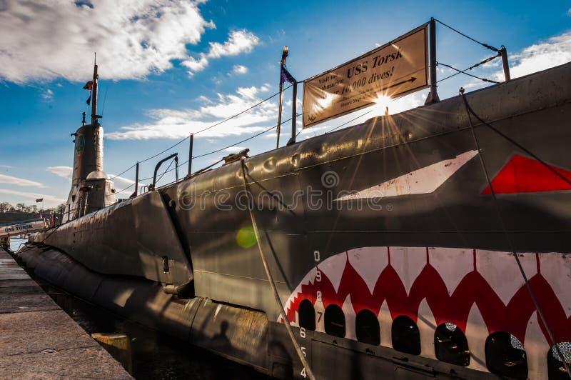 Il sottomarino del Torsk di USS nel porto interno di Baltimora fotografia stock