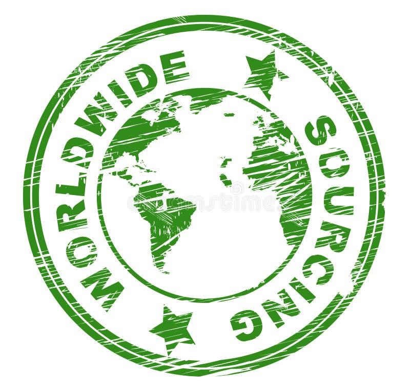 Il sourcing mondiale rappresenta il fornitore ottiene e globalizza illustrazione di stock