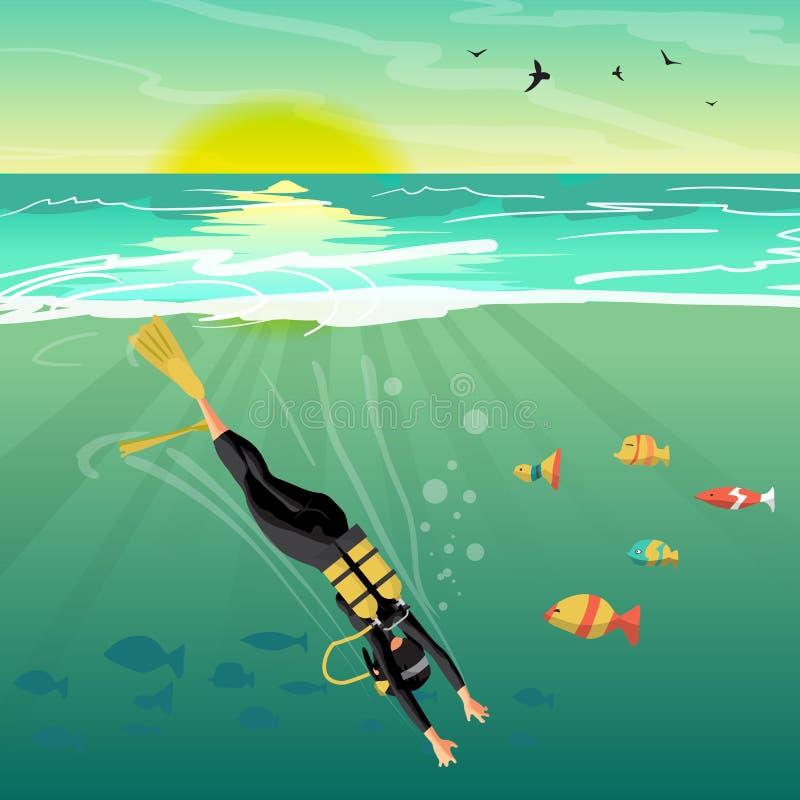 Il subaqueo della giovane donna si tuffa sotto il mare nel mare ai soli illustrazione di stock
