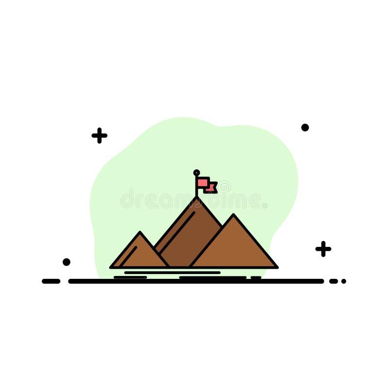 Il successo, montagna, picco, bandiera, linea piana di affari ha riempito il modello dell'insegna di vettore dell'icona royalty illustrazione gratis