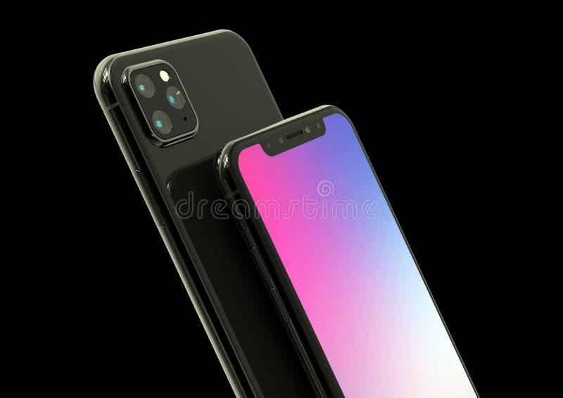 Il successore di Xs di iPhone di Apple, 2019, ha colato la simulazione di progettazione fotografia stock