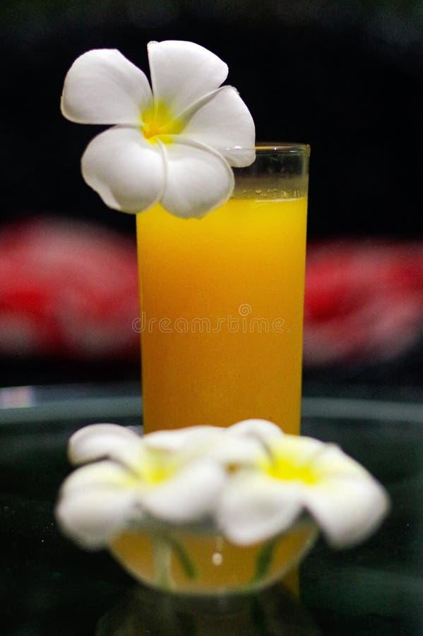 Il succo d'arancia fresco di recente schiacciato, primo piano con una magnolia sboccia sul gla fotografia stock libera da diritti