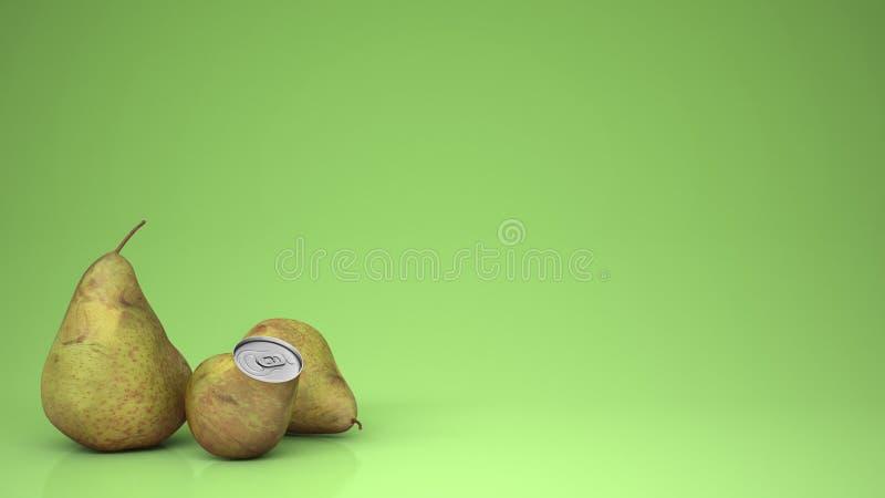 Il succo di pera fresco in pera può e pere, sopra fondo verde con lo spazio della copia, idea naturale di concetto della bevanda fotografia stock libera da diritti