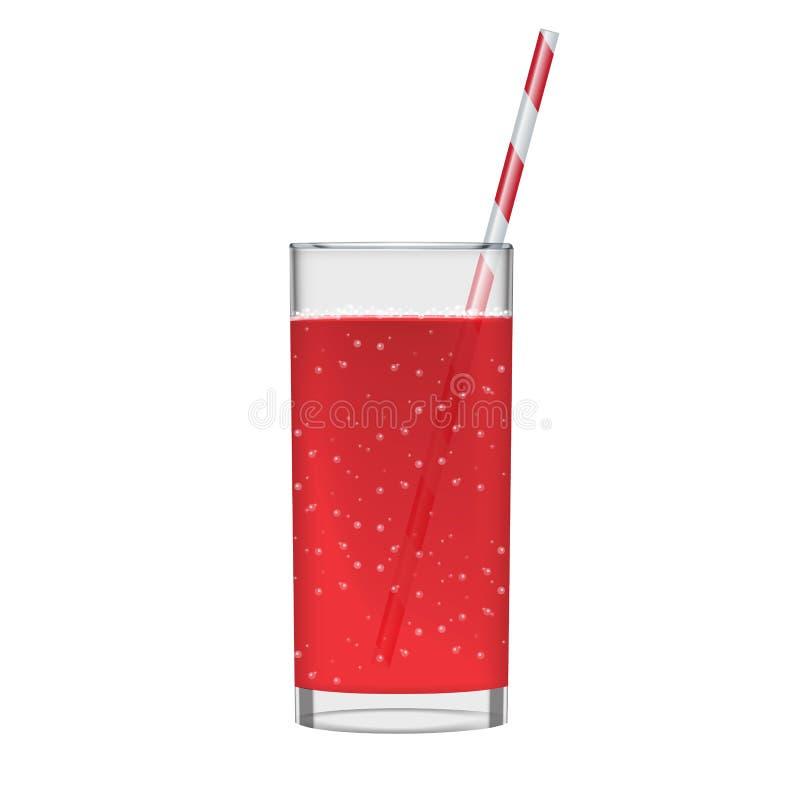 Il succo rosso con il vetro e scintillare del frullato bolle Bevanda organica della frutta Illustrazione realistica della foto illustrazione vettoriale