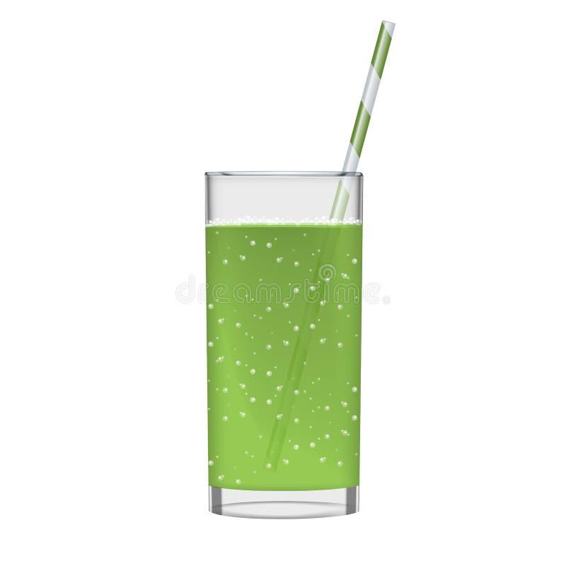 Il succo verde con il vetro e scintillare del frullato bolle Bevanda organica della frutta Illustrazione realistica della foto tr illustrazione di stock